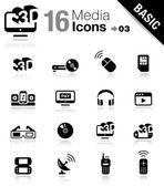 Basic - icone media — Vettoriale Stock