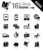 Basic - winkelen pictogrammen — Stockvector