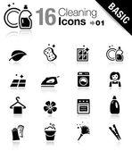 Základní - čištění ikony — Stock vektor