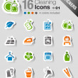 Stickers - Cleaning Icons — Stockvektor
