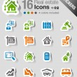 Stickers - Real estate icons — Stock Vector #15326111