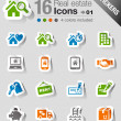 Stickers - Real estate icons — Stock Vector