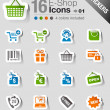 Stock Vector: Stickers - Shopping icons