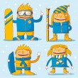 Family winter sports — Stock Vector