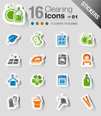 Stickers - Cleaning Icons — Stock Vector