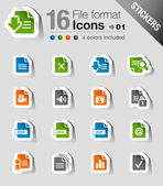 Stickers - File format icons — Stock Vector