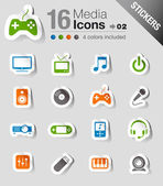 Stickers - media iconen — Stockvector