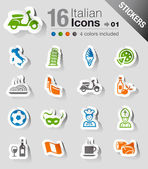 Stickers - Italian Icons — Stock Vector