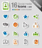 Stickers - Social media icons — Stock Vector