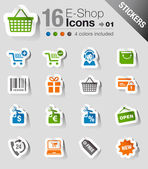 Naklejki - zakupy ikony — Wektor stockowy