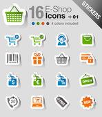 Stickers - winkelen pictogrammen — Stockvector