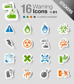 Stickers - Warning icons — Stock Vector