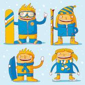 Family winter sports — Stock Vector