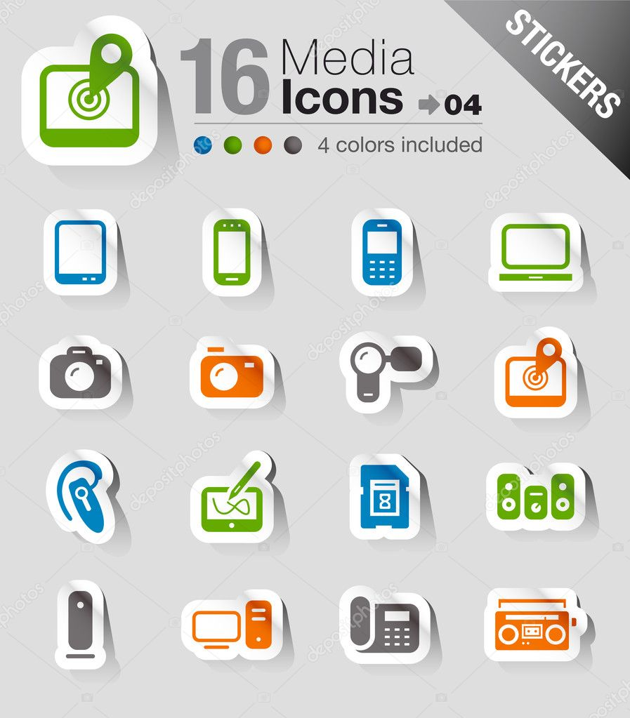 "16 ""media and technology"" icons set — Stock Vector #15326037"