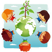Green planet Kids — Stock Vector