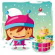 Christmas - little girl and her Gifts — Stock Vector