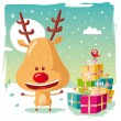 Christmas - Rudolph the Reindeer and his Christmas gifts — Stock Vector