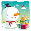 Christmas - snowman and his gifts — Stock Vector