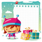 Christmas - little girl and her wish list — Stock Vector