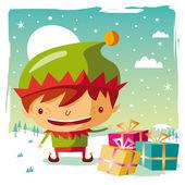Jul - elf och hans gåvor — Stockvektor