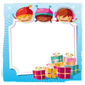 Christmas - Kids with a big tag — Stock Vector