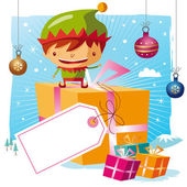 Christmas - Elf and his gifts with a big tag — Stock Vector