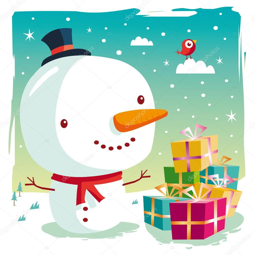 A cute snowman and his gifts on Christmas day — Stock Vector #15607775