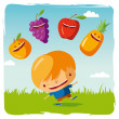Stock Vector: Boy with funny fruits