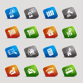 Cut Squares - Real estate Web Icons — Stock Vector