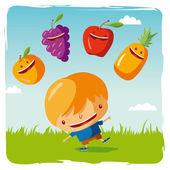 Niño con frutas graciosos — Vector de stock
