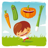 Boy with funny vegetables — Stock Vector