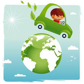 Green car - save our planet — Stock Vector