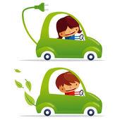 Green electric car & green car — Stock Vector