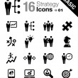 Basic - Business strategy and management icons — Stock Vector