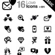 Basic - Love and Dating icons — Vettoriali Stock