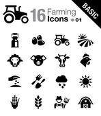 Basic - agricultura y cría iconos — Vector de stock