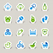 Paper Cut - Baby icons — Stock Vector