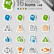 Stickers - Business strategy and management icons — Stock Vector #26627109