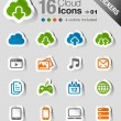 Stock Vector: Stickers - Cloud computing Icons