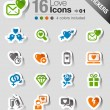 Vector de stock : Stickers - Love and Dating icons