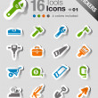 Stickers - Tools and Construction icons — Stock Vector #26627421