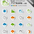 Stock Vector: Stickers - Weather and Meteorology Icons