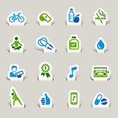 Paper Cut - Health and Fitness icons — Stock Vector