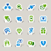Paper Cut - Love and Dating icons — Stock Vector