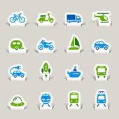 Paper Cut - Transportation icons — Stock Vector