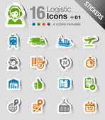 Stickers - Logistic and Shipping icons — Stock Vector