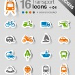 Stickers - Transportation icons — Stock Vector #26834957