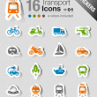 Stickers - Transportation icons — Stock Vector