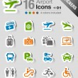 Stickers - Airport and Travel icons — Stock Vector