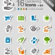 Stickers - Gardening icons — Stock Vector